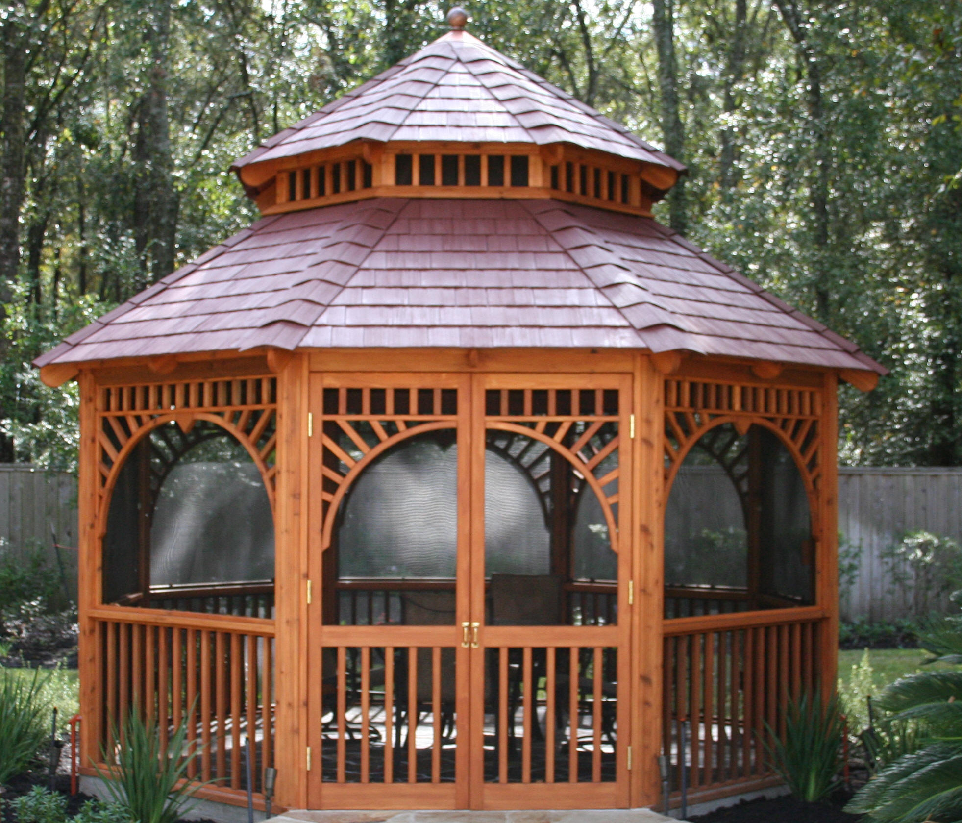 The Vinyl Roof Option On A Gazebo Junction Gives You Look Of Stained Cedar Shingles Without Maintenance Is Installed Our