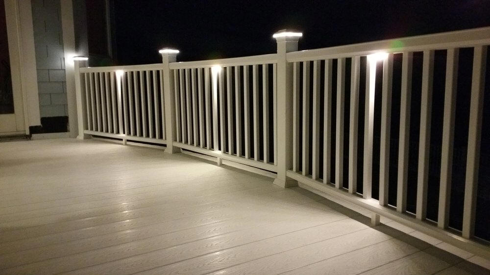 Timber tech deck lites at deck builder outlet designed to be installed under the top rail of you railings these led lights take only 1 12 watts overall size is 3 12 x 1 x 12 aloadofball Gallery